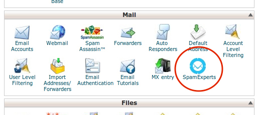 spamexperts cpanel